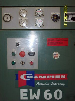 1988 Champion Ew60 Air Compressor Low Hours 50 Hp