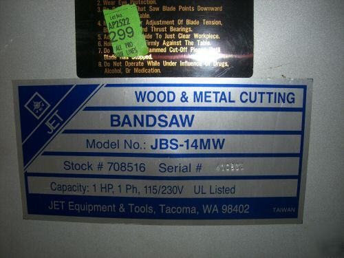 Jet Jbs 14mw 14 Quot Wood Metal Band Saw Bandsaw Shop