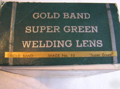 Welders filter lens gold band super green vintage